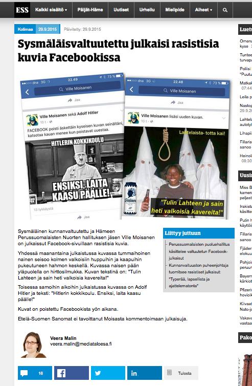 Ville Moisanen Perussuomalaiset Lahti KKK rasismi natsit fasismi