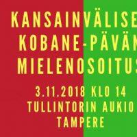 Kansainvälisen Kobane-päivän mielenosoitus Tampereella